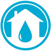 Drop on home icon — Stock Vector