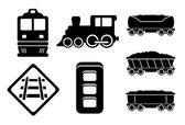 Set rail road black silhouette — Stock Vector