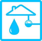 Pipeline with meter of water and drop — Stock Vector
