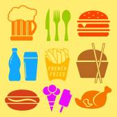 Fast food ingredient icon set — Stock Vector