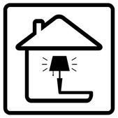 Lamp on home. icon from the set line style — Stock Vector