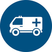 Ambulance car on blue round icon — Stock Vector