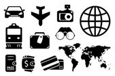 Set black objects for business traveling — Stock Vector