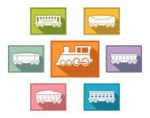 Train set for passenger or cargo industry — Stock Vector