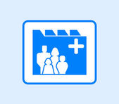 Medical record icon with family — Stock Vector