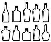 Set white glass alcohol bottles — Stock Vector