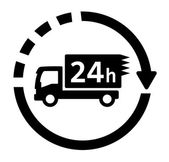 24 hour delivery symbol with truck — Stock Vector