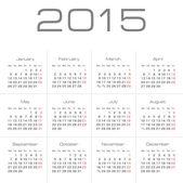 Calendario vettoriale semplice europeo anno 2015 — Vettoriale Stock