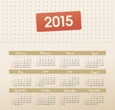 Calendar 2015 year with dotted — Stock Vector