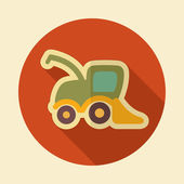 Combine harvester retro flat icon with long shadow — Stock Vector