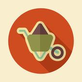 Kruiwagen karren retro platte pictogram met lange schaduw — Stockvector