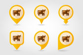 Cow flat mapping pin icon with long shadow — 图库矢量图片