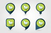 Chicken flat mapping pin icon with long shadow — Stock Vector