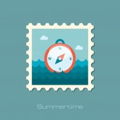 Compass flat stamp — Stock Vector