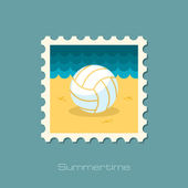 Volleyball flat stamp — Stock Vector