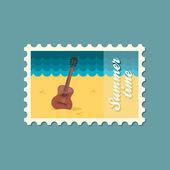 Гитара пляж плоский штамп — Cтоковый вектор