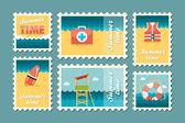 Summertime stamp set flat — Stock Vector