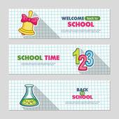 School flat vector banners — Stock Vector