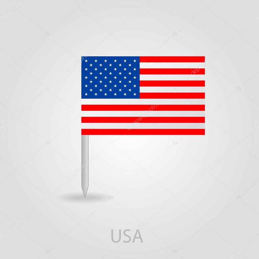 美国国旗别针地图图标 eps 10– 图库插图