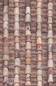 Seamless red old roof tiles repaired  texture — Stock Photo