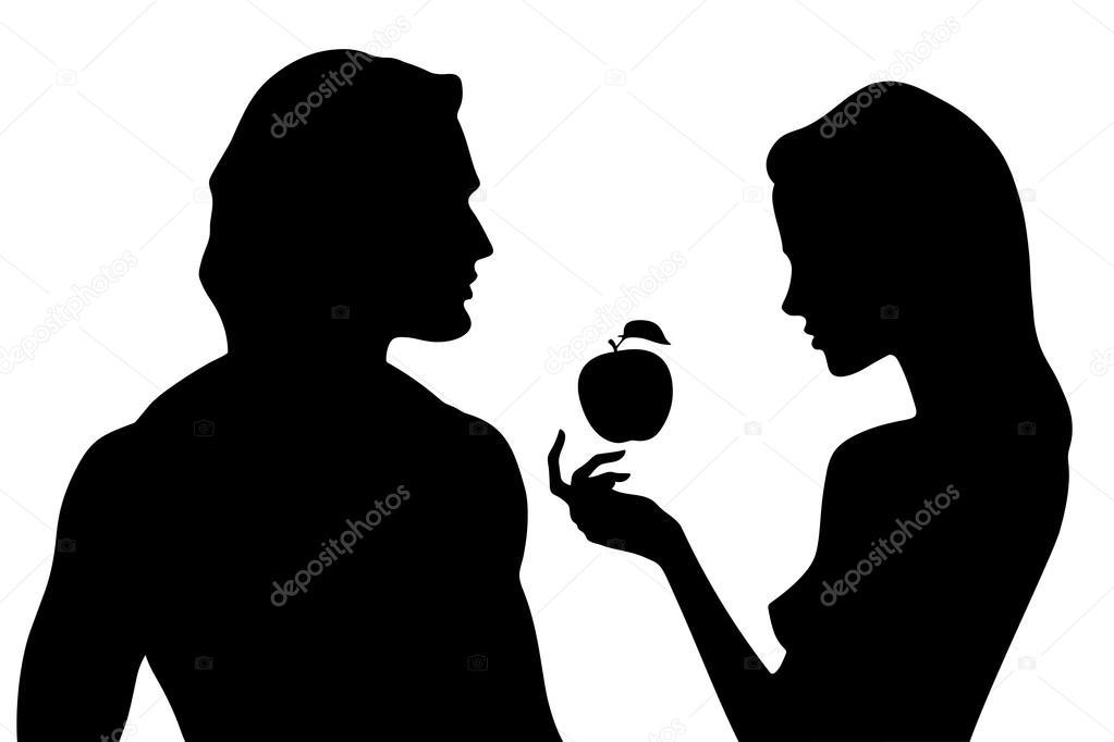 Silhueta de vetor de homem bonito e mulher no perfil ...
