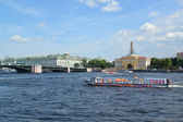St. Petersburg. The river ship floats across Neva — Photo