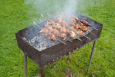 Frying of the quails strung on a skewer, on a brazier — Stock Photo