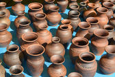Sale of ceramic ware at fair of national creativity — Stock Photo
