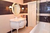 Bathroom interior. Modern classics with rococo elements — Stock Photo