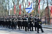 KALININGRAD, RUSSIA - APRIL 09, 2015: Solemn march of smart calc — Stock Photo