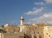 View of the Wailing Wall, Al-Aqsa Mosque minaret. Jerusalem, Israel — Stock Photo