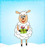 Bláznivá ovce s dárek — Stock vektor