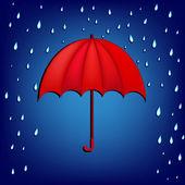 Umbrella in rain — Stock Vector