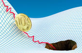Russian ruble in problem — Stock Photo