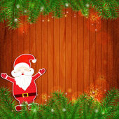 Santa Claus on wooden background — Stock Vector