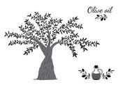 Olive tree and oil — Stockvector