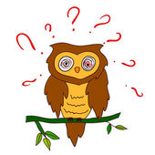 Confused owl with questions — Stock Vector
