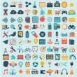 Flat icons design modern set of various financial service items, web and technology development, business management symbol, marketing items and office equipment — Stock Vector #53176397