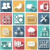 SEO, database, chat, internet icon set — Stockvector