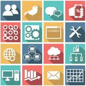 SEO, database, chat, internet icon set — Vetorial Stock