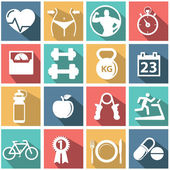 Health and Fitness icons — Stock Vector