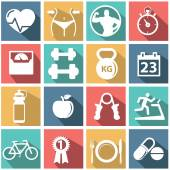 Iconos de salud y fitness — Vector de stock