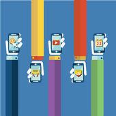 Conceito de aplicativos móveis. ilustração em vetor design plano. mão humana com telefone móvel e os ícones de interface — Vetor de Stock