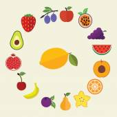 Set of flat design concept icons for food and restaurant. Healthy organic fruit and diet — Vector de stock