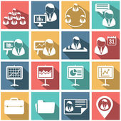 Flat modern human resources and management icons set — Stock Vector