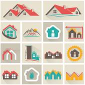 Real Estate web Icons set and vector logos — Stockvektor