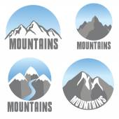 Mountains emblem set, modern design — Stok Vektör