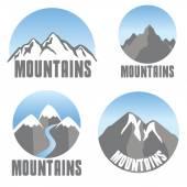 Mountains emblem set, modern design — Stock Vector