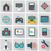 Vector collection of colorful flat business and finance icons with long shadow. Design elements for mobile and web applications. — Vetorial Stock