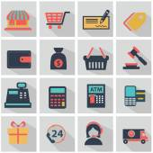 Winkelen pictogrammenset — Stockvector